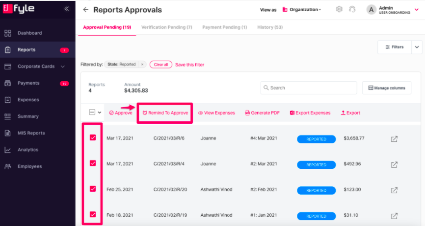 manually remind approvers to approve report