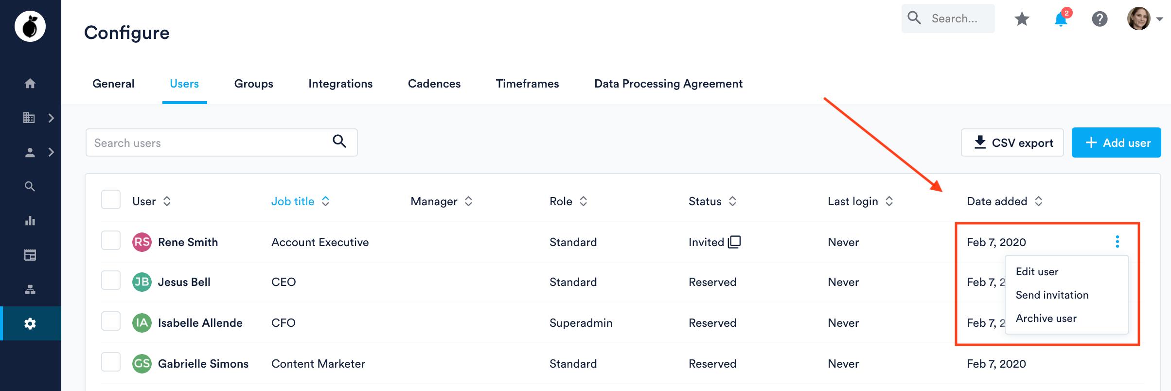 Edit user in Configure Users tab