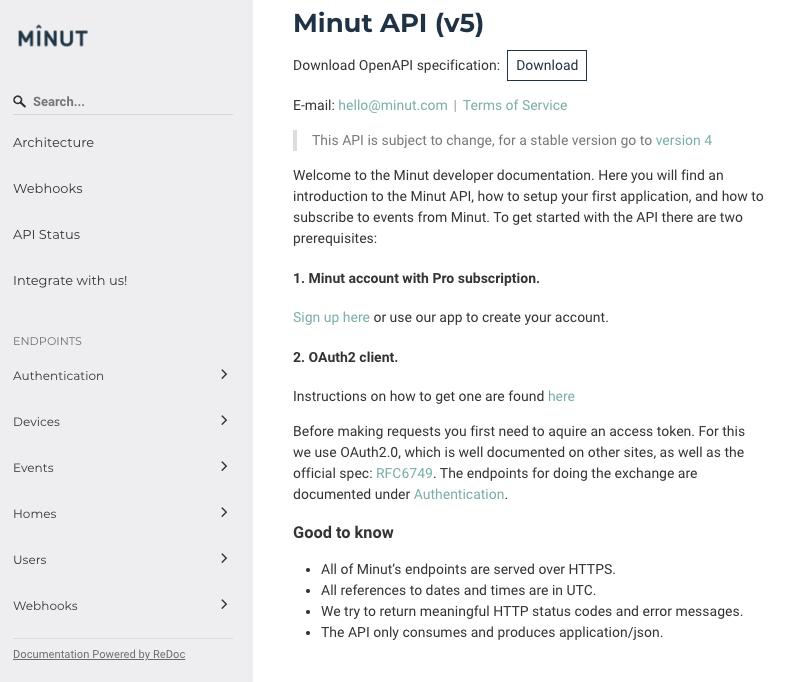 Screenshot of the Minut API documentation