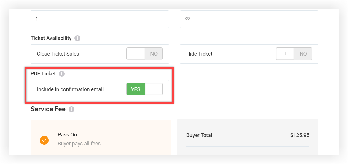 Screenshot of the Edit modal for a Ticket. The PDF Ticket section is highlighted.