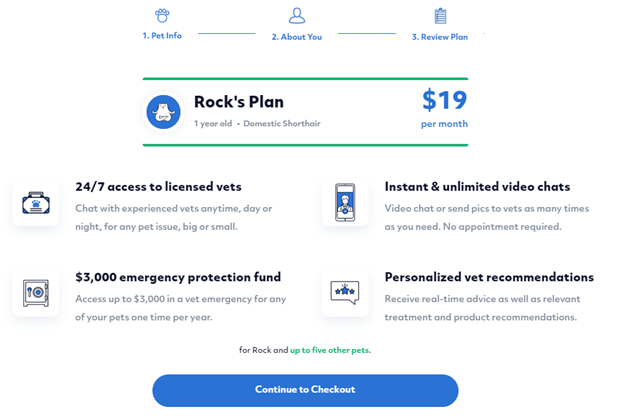 Screenshot of review plan page