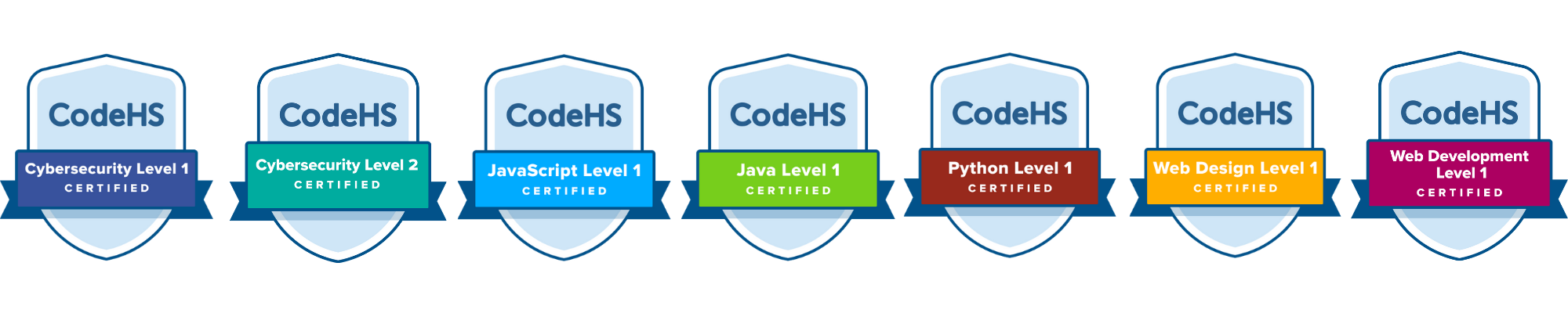 Image showing all available CodeHS Certifications badges
