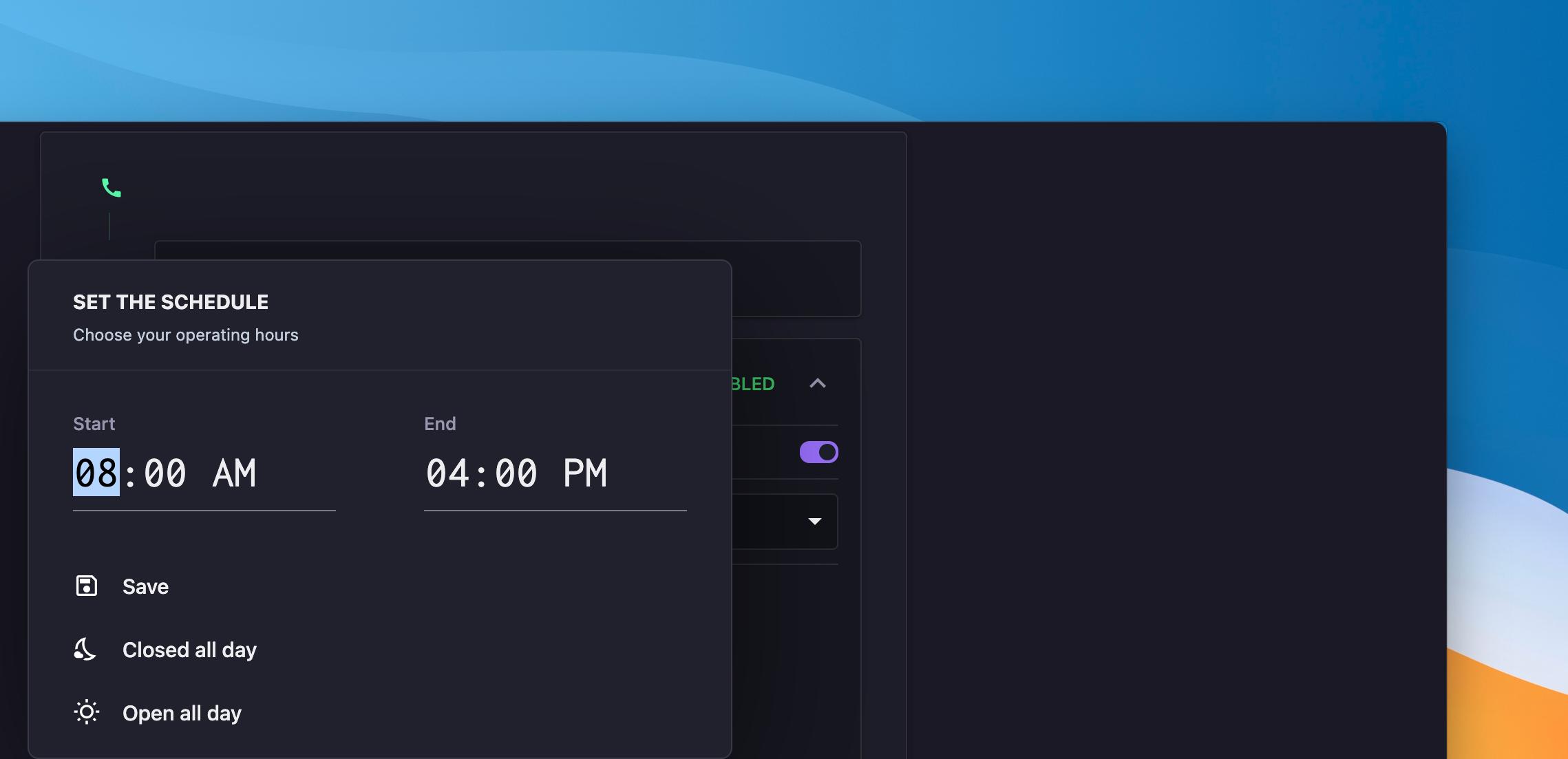 add business hours in OpenPhone