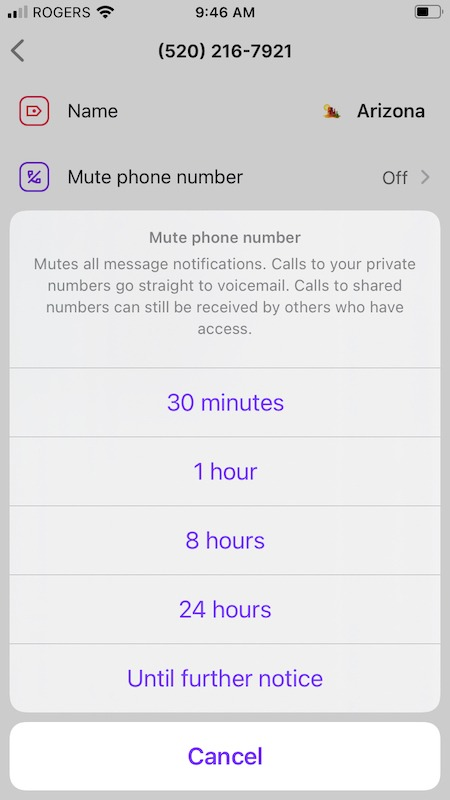 Specifying the mute length in the OpenPhone mobile app