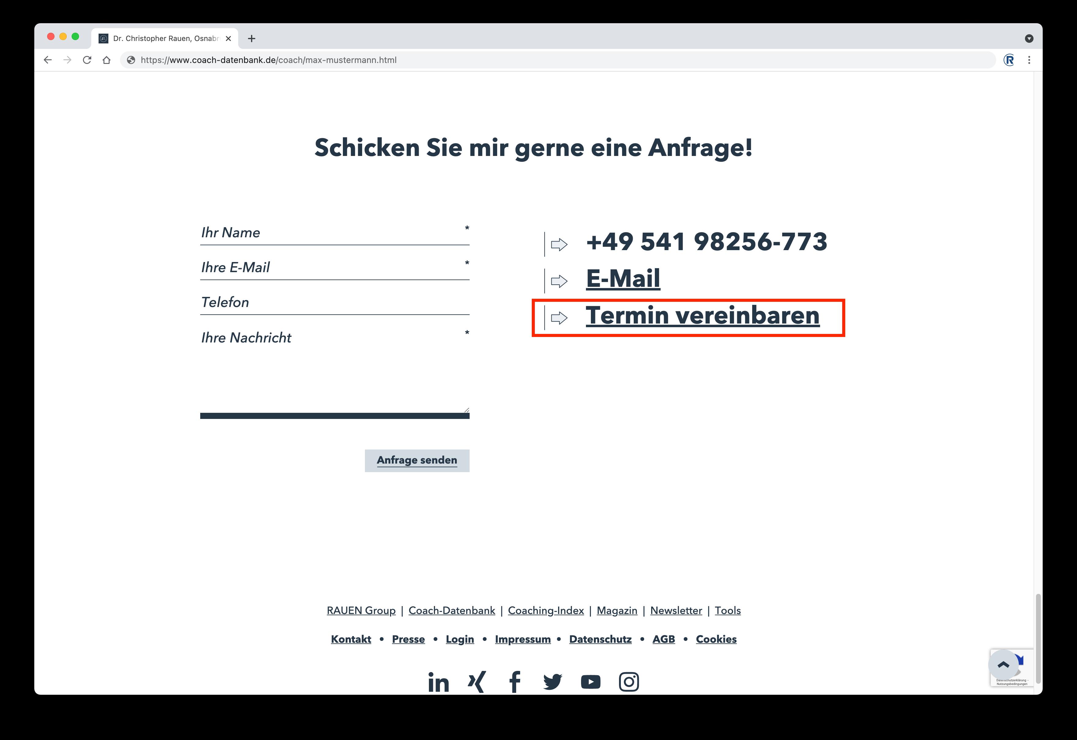 Terminbuchung mit MeetFox auf RAUEN Coach-Datenbank