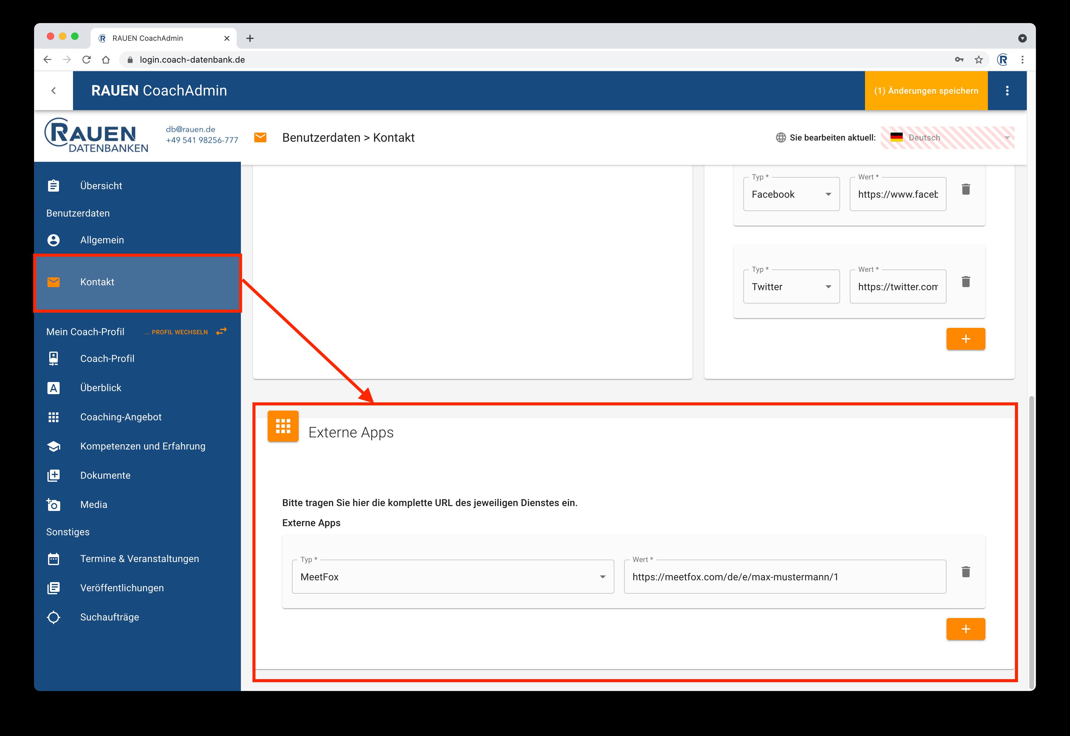 MeetFox auf RAUEN Coach-Datenbank integrieren