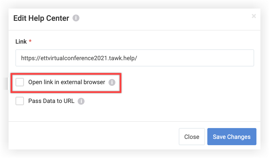 Screenshot of the Edit Web Link modal. A Tawk.to link has been pasted in, and the checkbox mentioned above is unchecked.