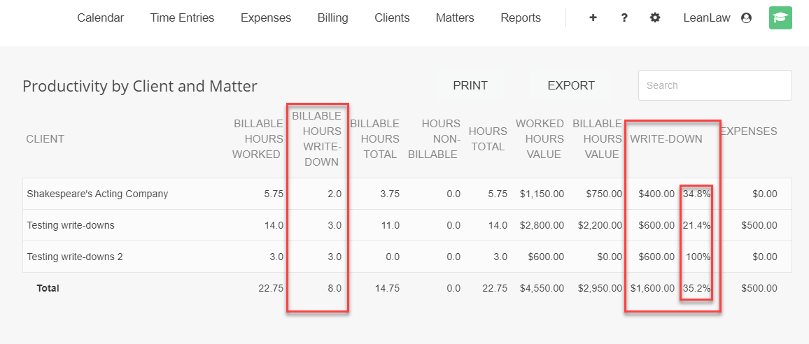A screenshot of the Client and Matter productivity report with write-down values indicated