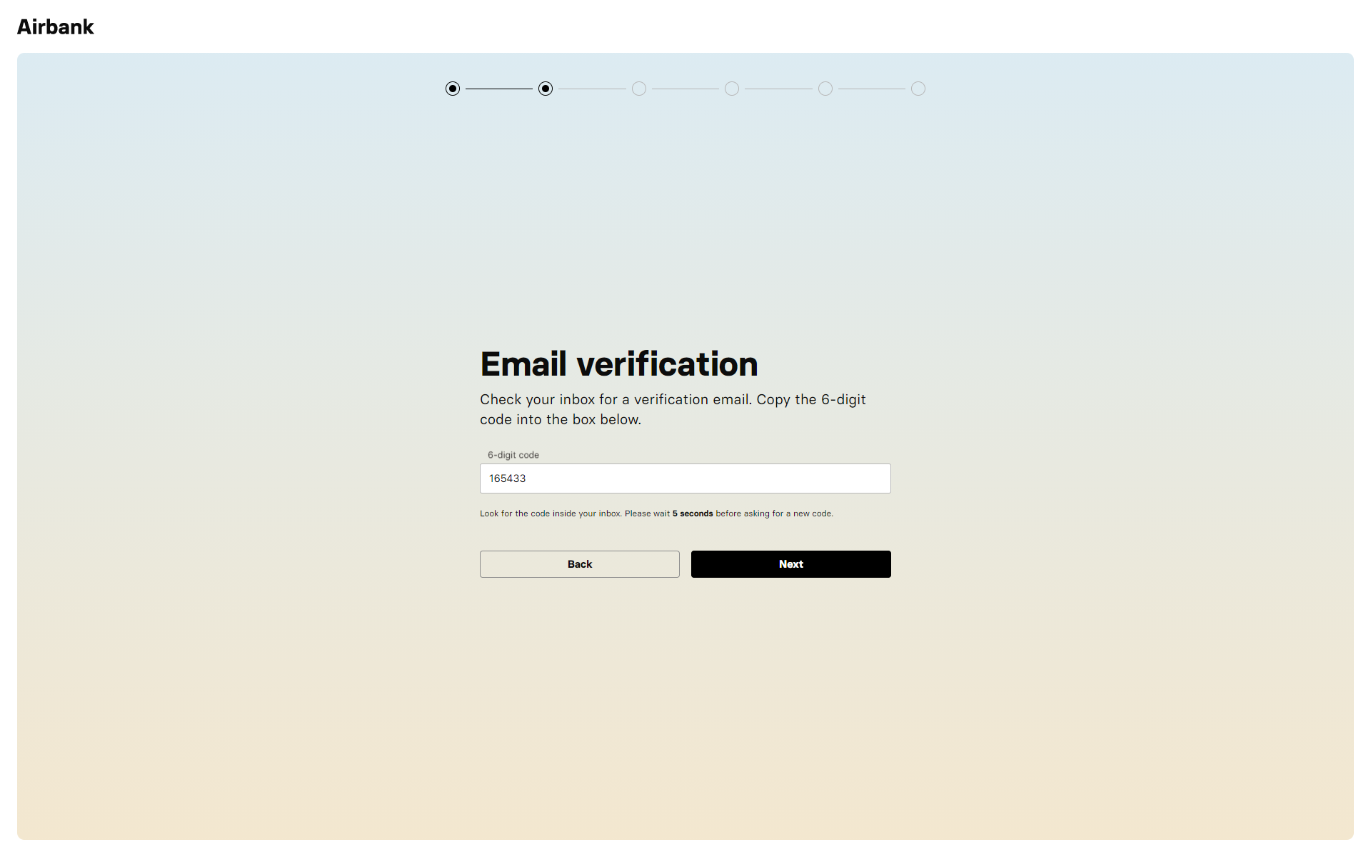Airbank Onboarding - Email Verification