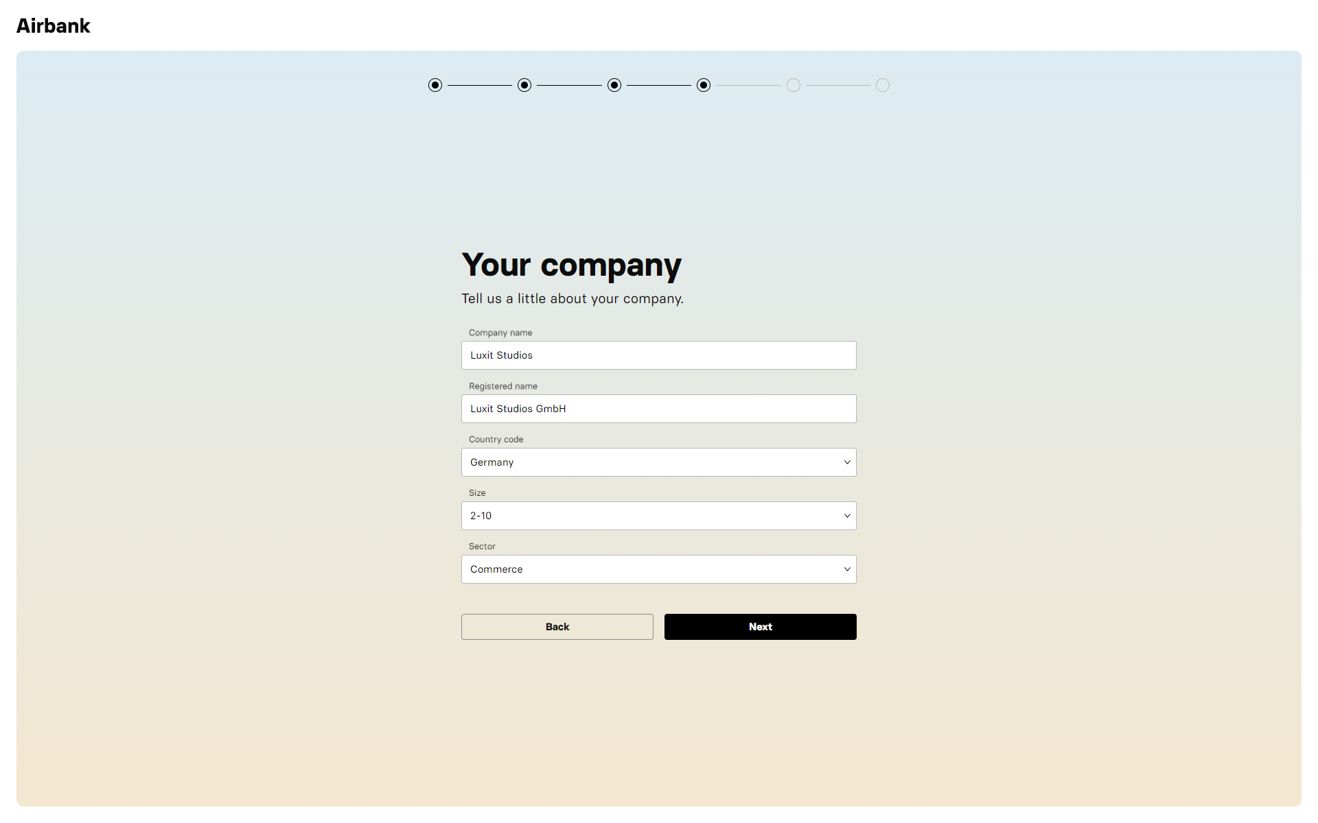 Airbank Onboarding - Company Details