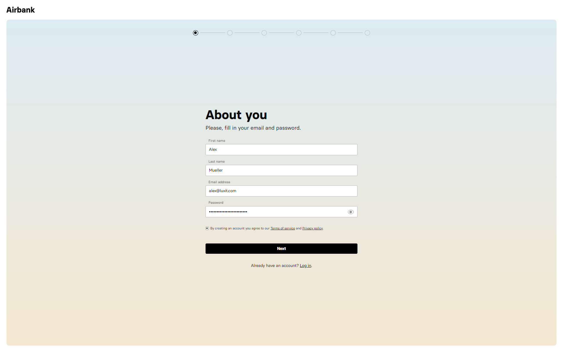 Airbank Onboarding - About You