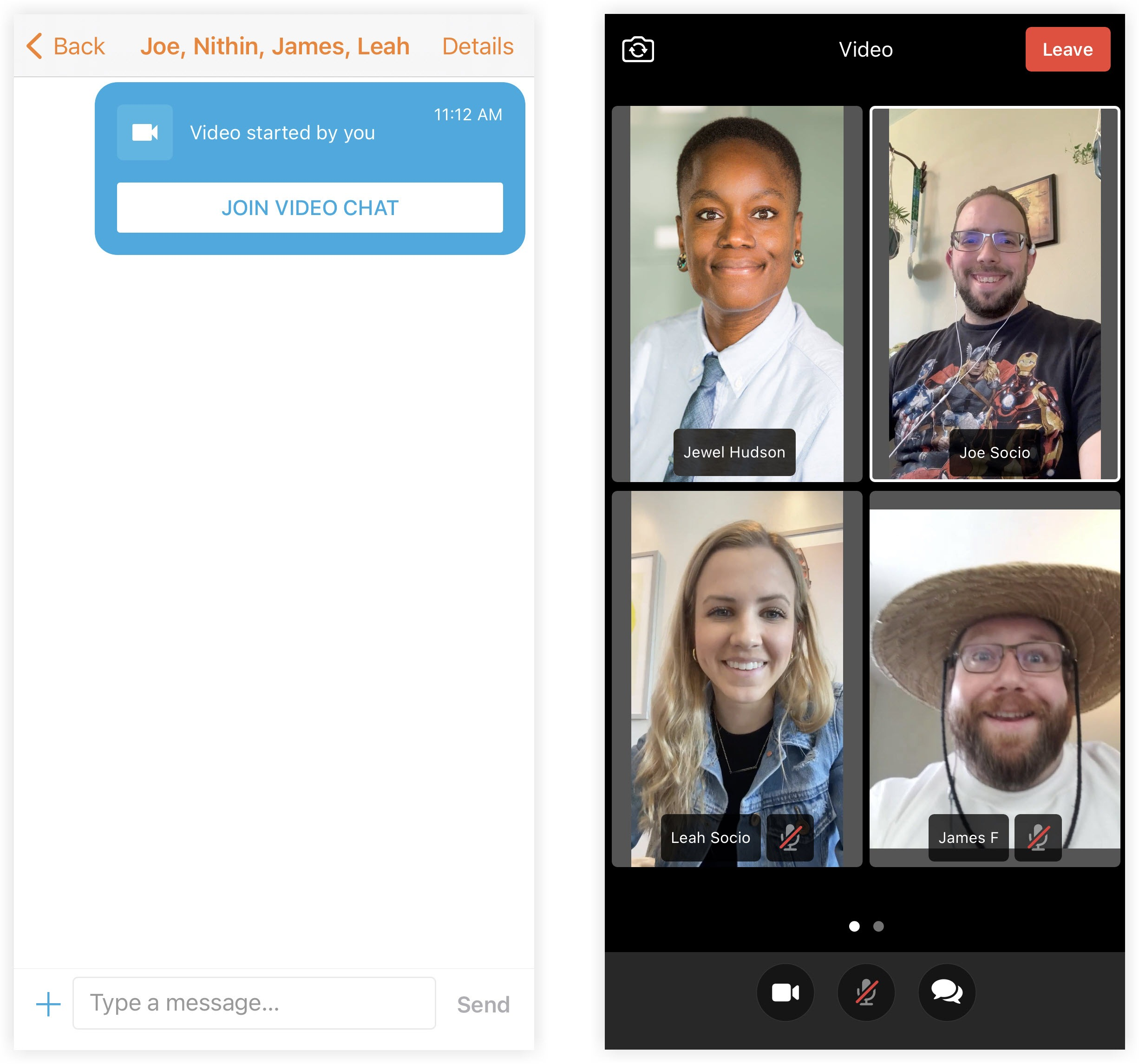 Two screenshots showing the Join Video Chat button in a private chat and four people in a private video session.