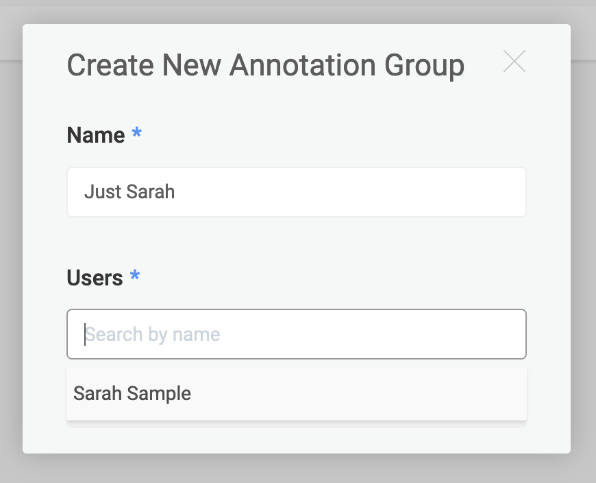 A pop-up window appears for you to create a new Annotation Group.