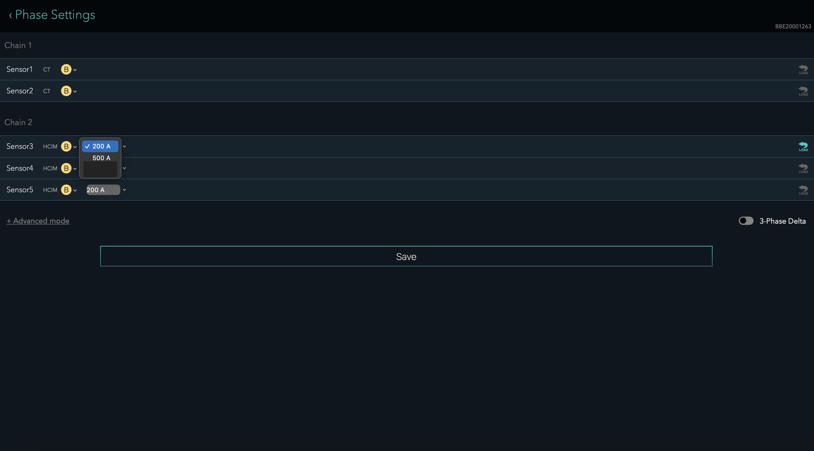 Phase settings screen