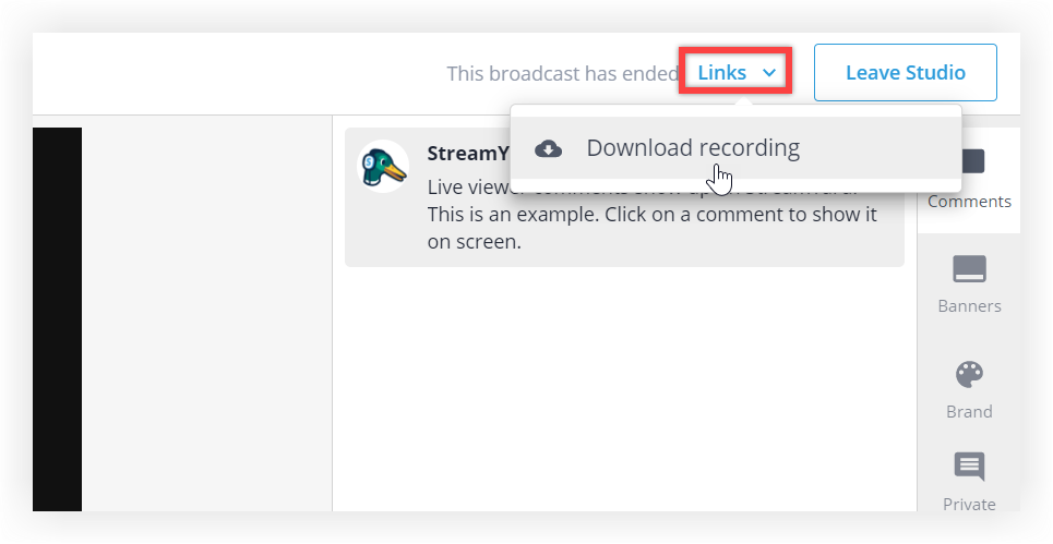 Screenshot of the Socio Streaming Studio with the Links button expanded and an arrow pointing to