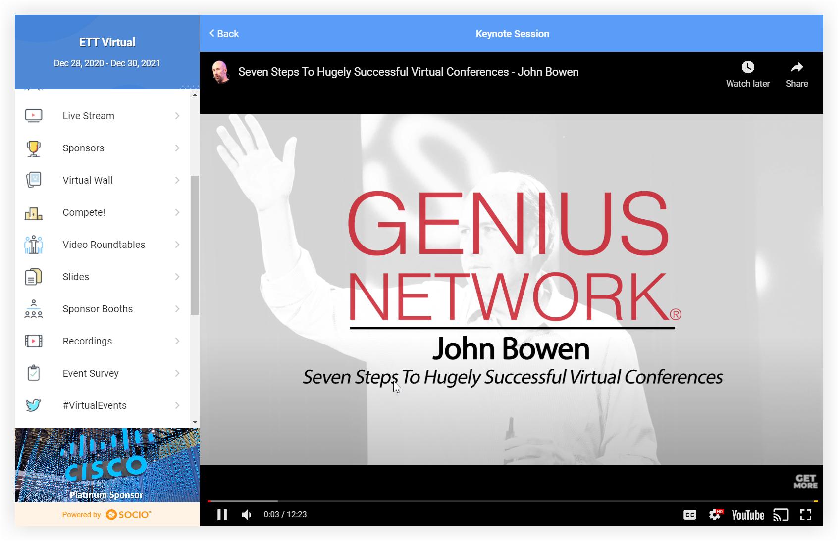 Screenshot of a YouTube video embedded in the Socio platform.