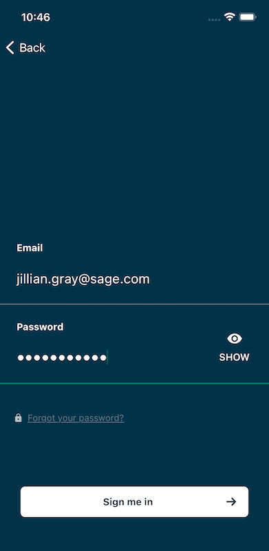 Sage HR Mobile App - Authentication with email and password