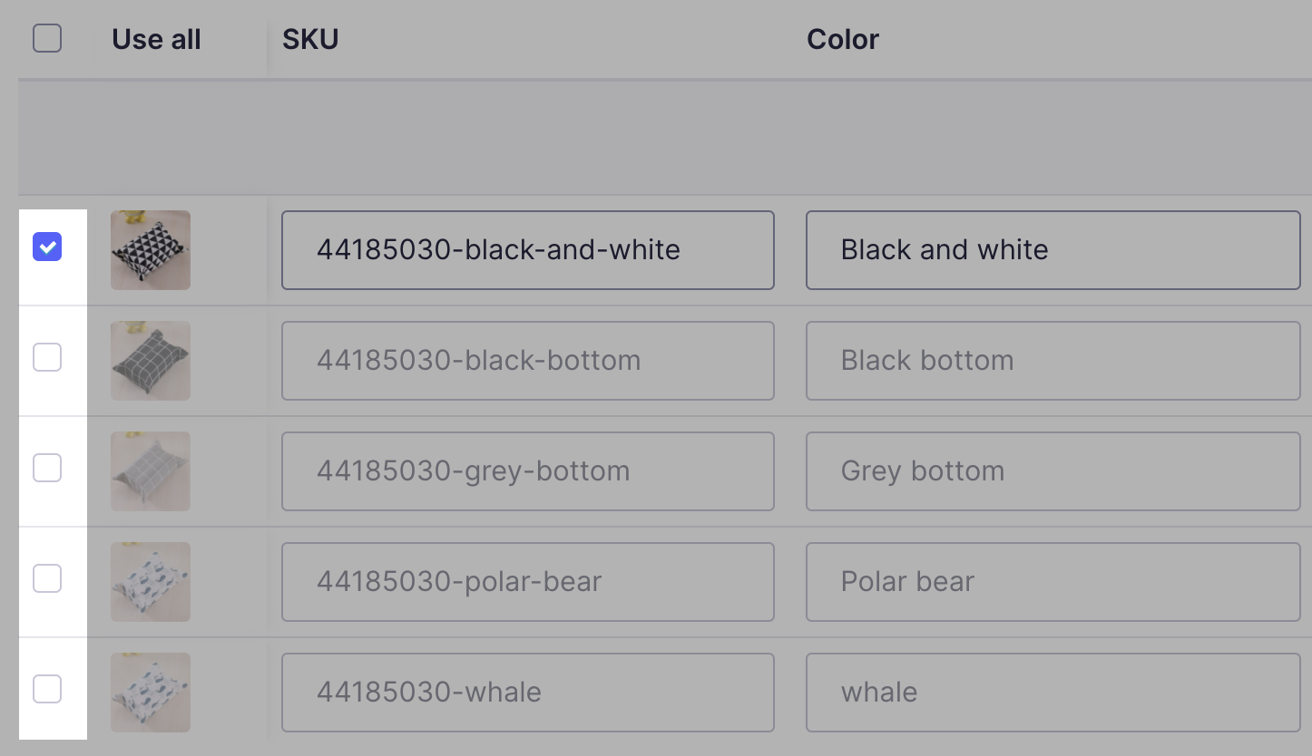 List of variants in a product with only the black and white variant checked.