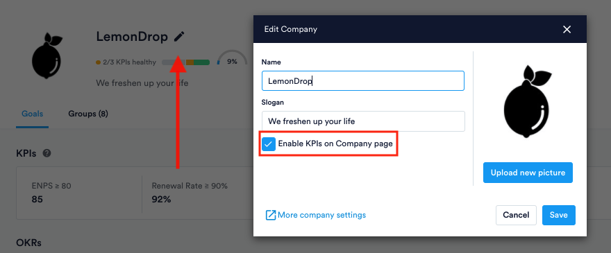 Enable or disable checkbox for KPIs at Company level