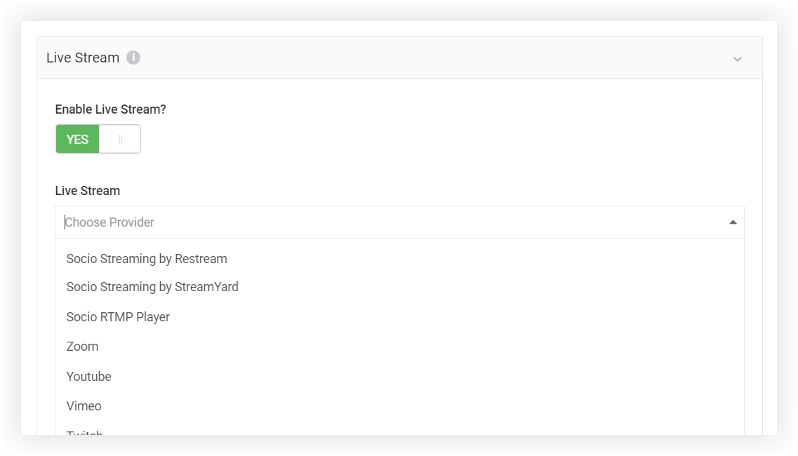 Screenshot of a Session's Live Stream settings panel. Live Stream is enabled.