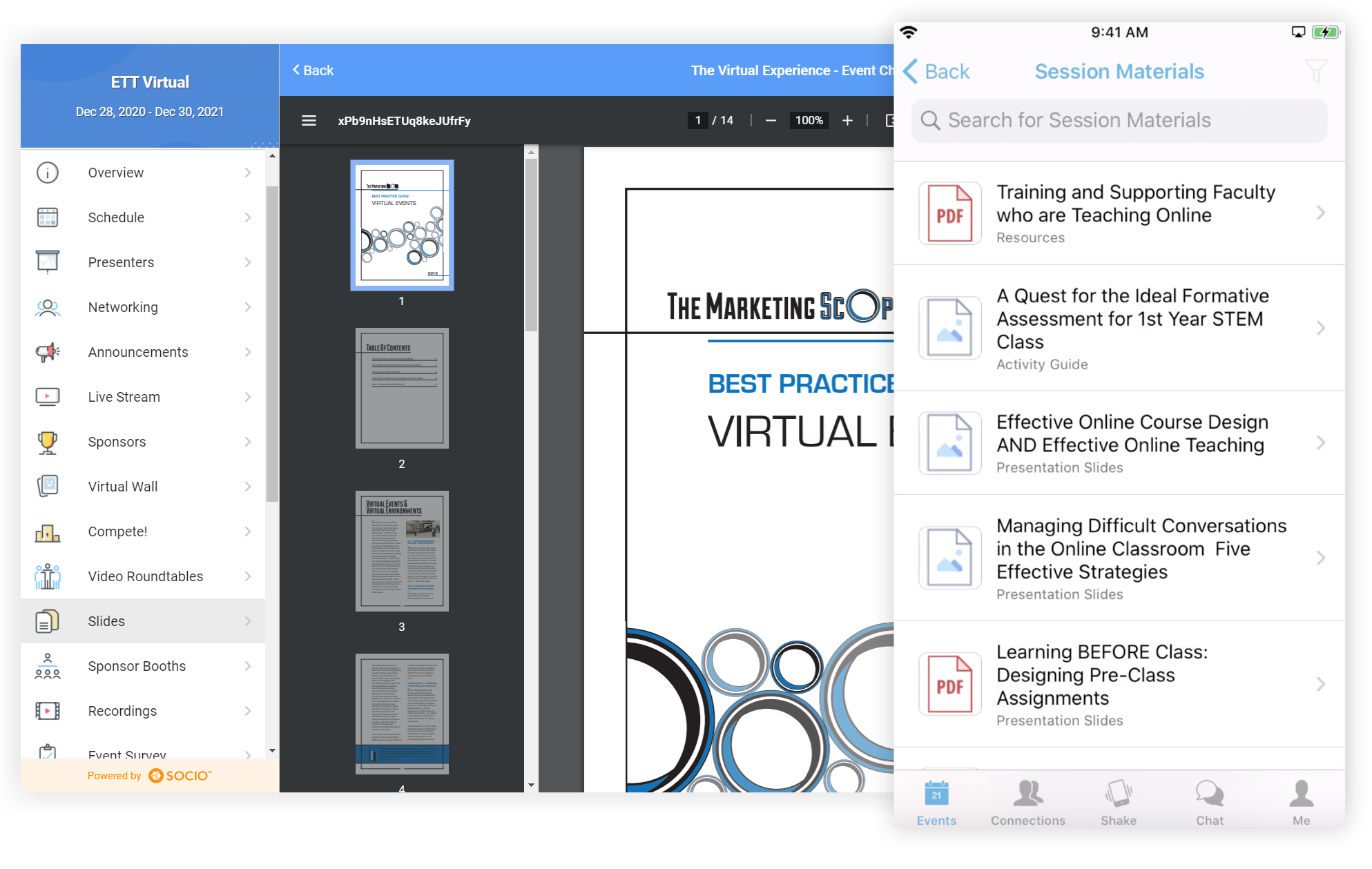 Screenshots of the Web App and Mobile App. The web app has a PDF open in the event. The Mobile App shows a list of documents.