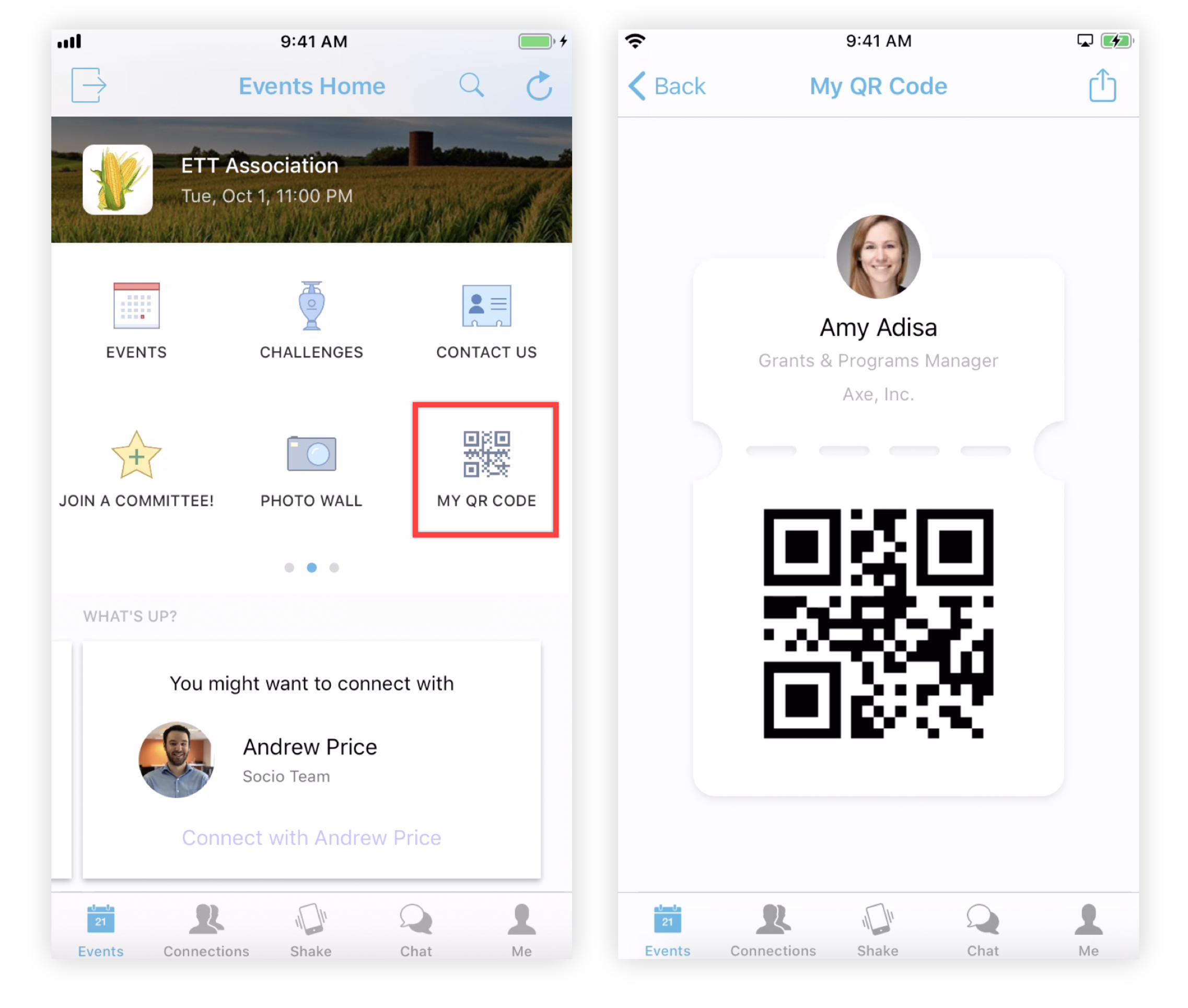 Screenshot of the My QR Code feature icon and  an Attendee QR code on the Mobile App.