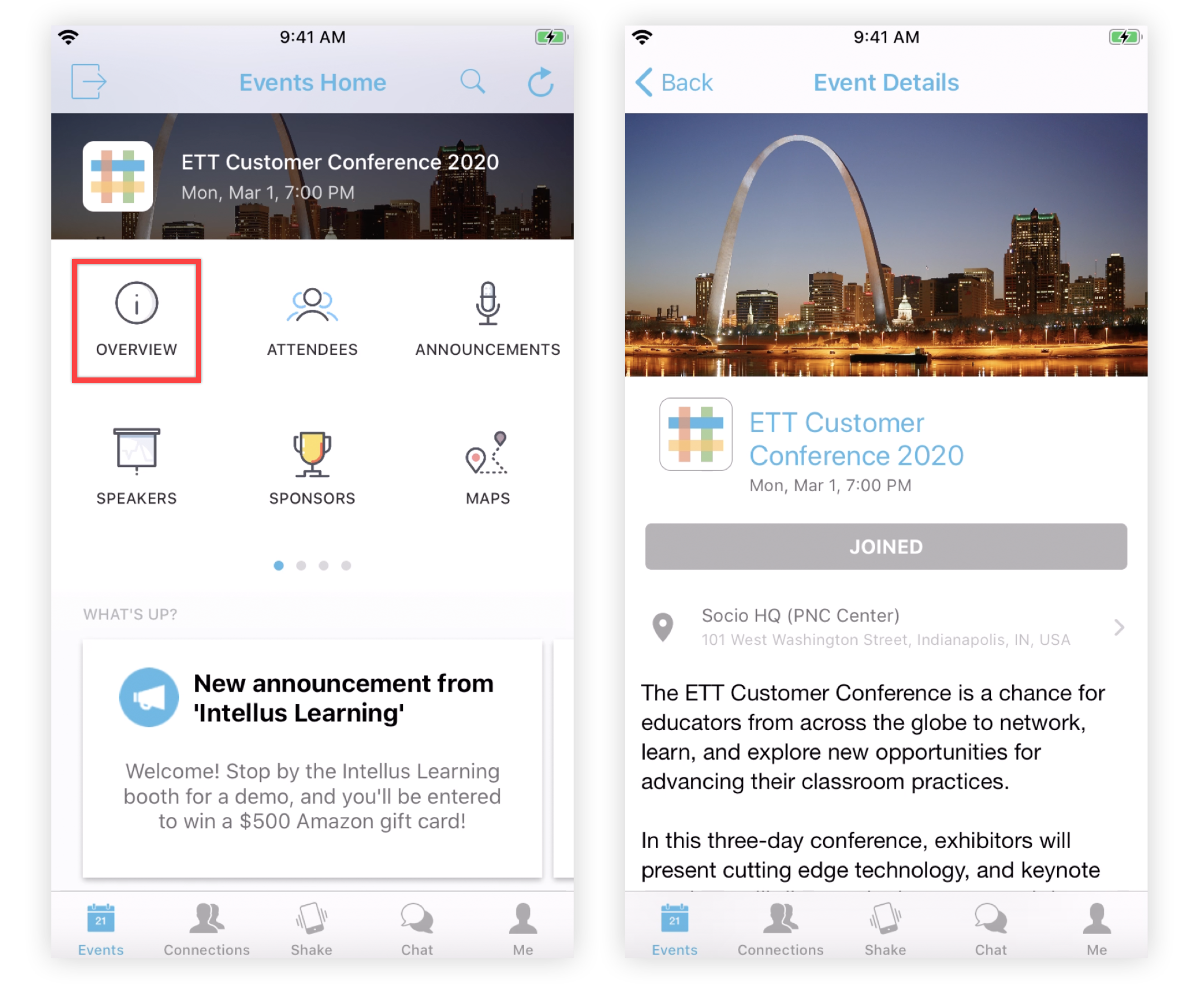 Screenshot of the Overview feature icon, and the Overview feature page on the Mobile App.
