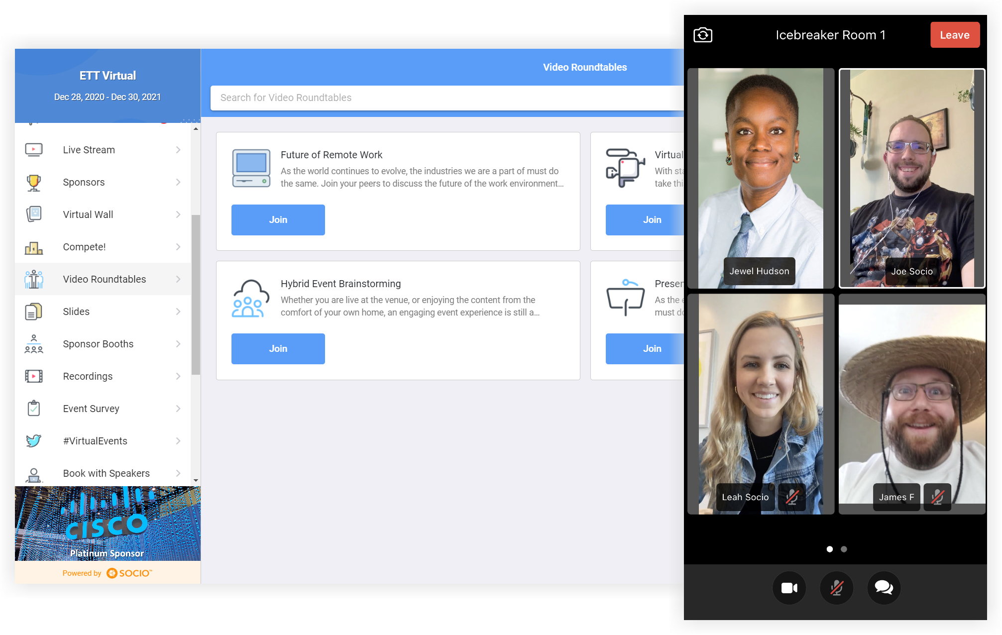 Screenshot of the Video Rooms feature in the Web App and a screenshot of four people in a video room on the Mobile App.