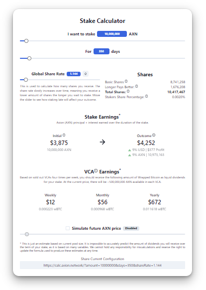 Estimate your staking rewards with the AxionCalc