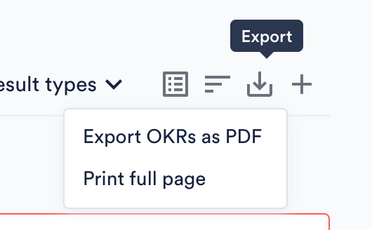 Export OKRs as PDF or page