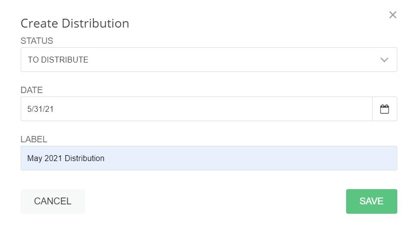 A screenshot of the Create Distribution window.