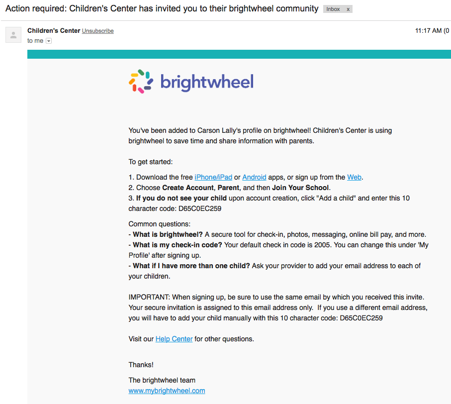 Parent sign up via email invite brightwheel help center 2 download the brightwheel app to your mobile device stopboris Choice Image