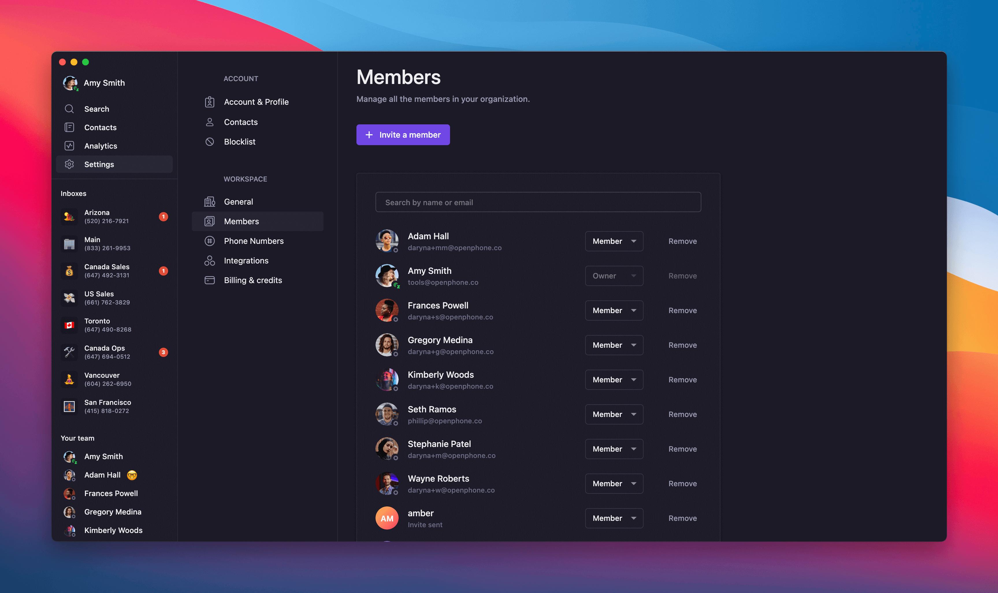 removing team member in OpenPhone