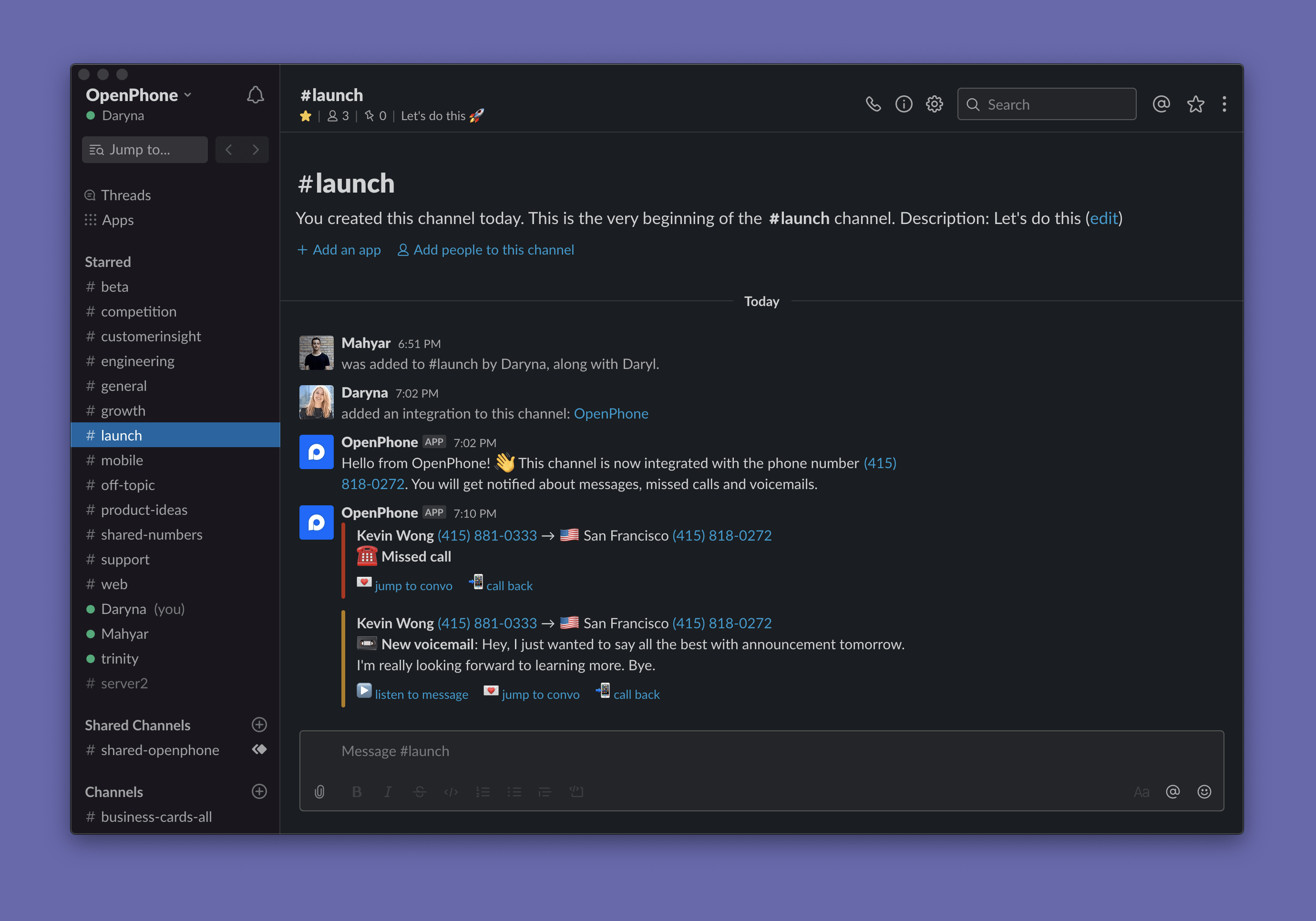 OpenPhone notification in a Slack channel
