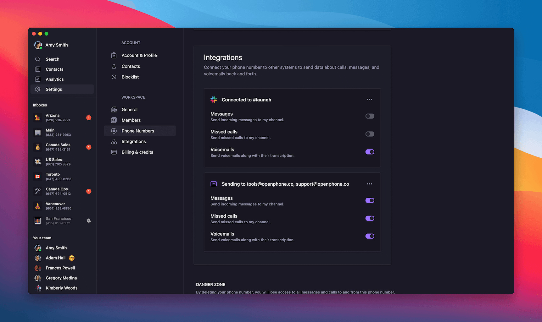 Adjusting Slack integration settings in OpenPhone