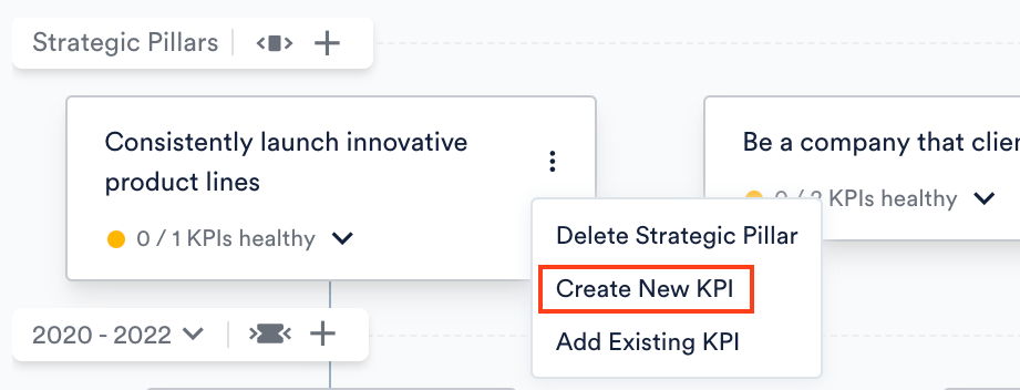 Create New KPI via Strategic Pillar on Roadmap
