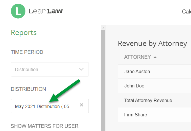 A screenshot of the revenue by attorney filters with the distribution dropdown indicated