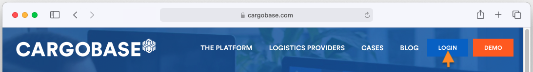 Access Cargobase login page by clicking the 'Login' button on Cargobase website
