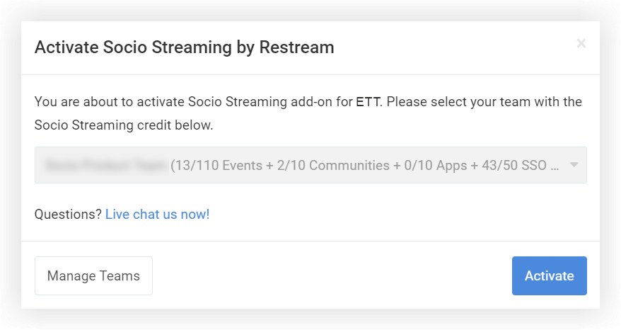 Screenshot of the Activate Socio Streaming pop-up.