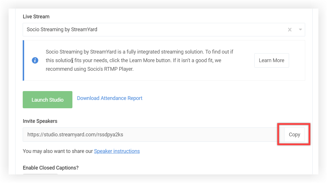Screenshot of Screenshot of a Session's Live Stream settings panel. The Invite Speakers link's copy button is indicated.