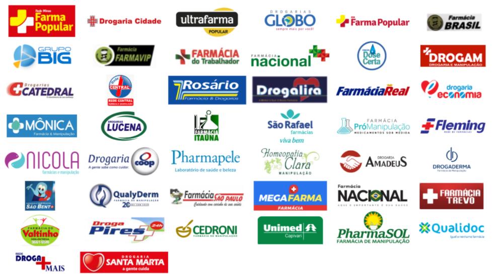 Ilustração com os logos das farmácias que aceitam a Memed