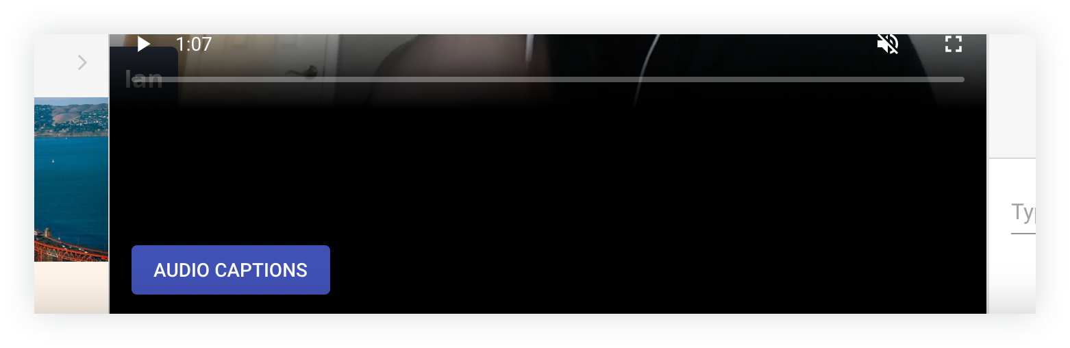Screenshot of the Audio Captions button.