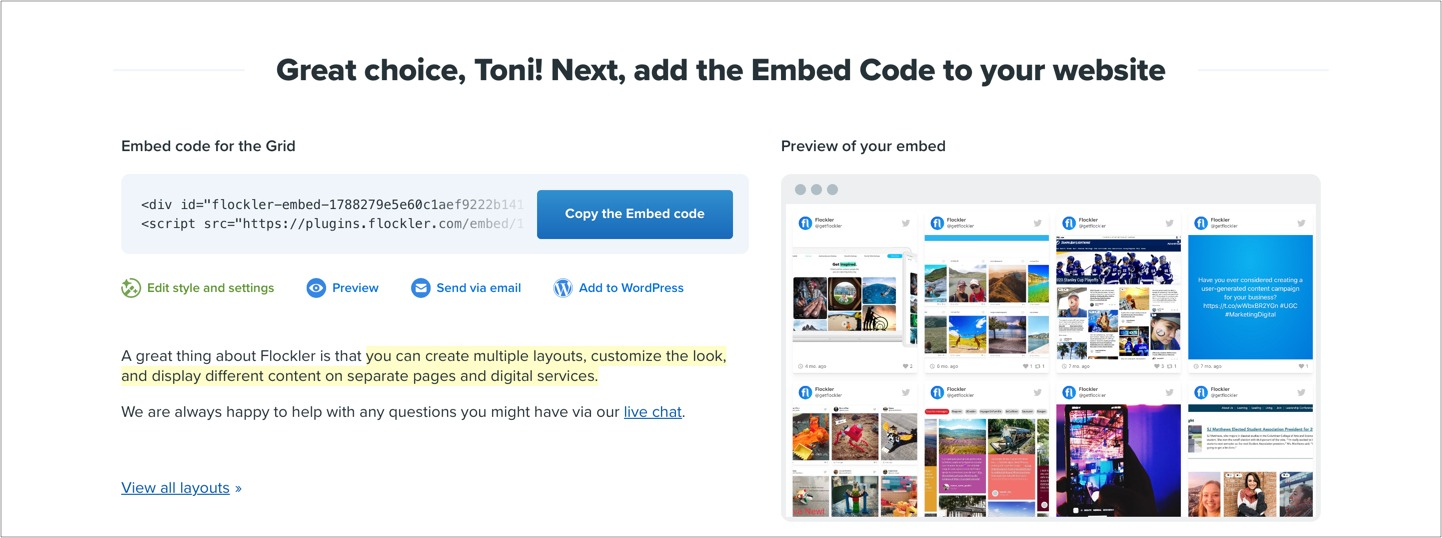 Flockler's embed code after selecting a layout for the social media feed