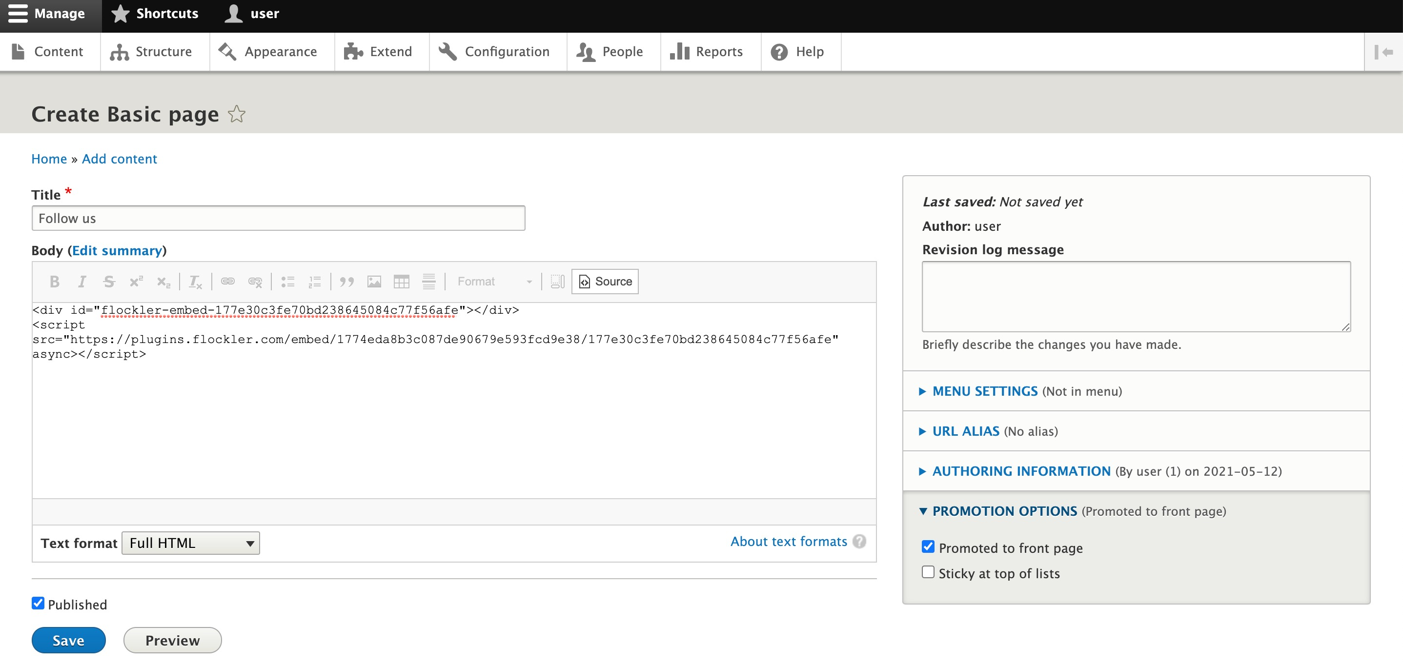 Adding an embed code to the Drupal article page editor