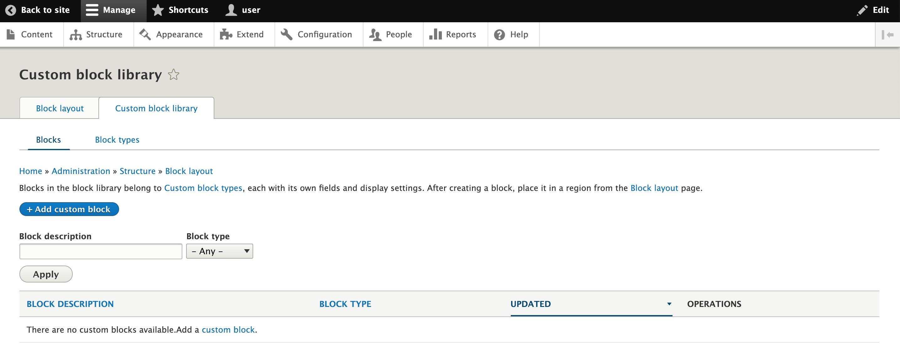 Adding a custom block in Drupal's site management