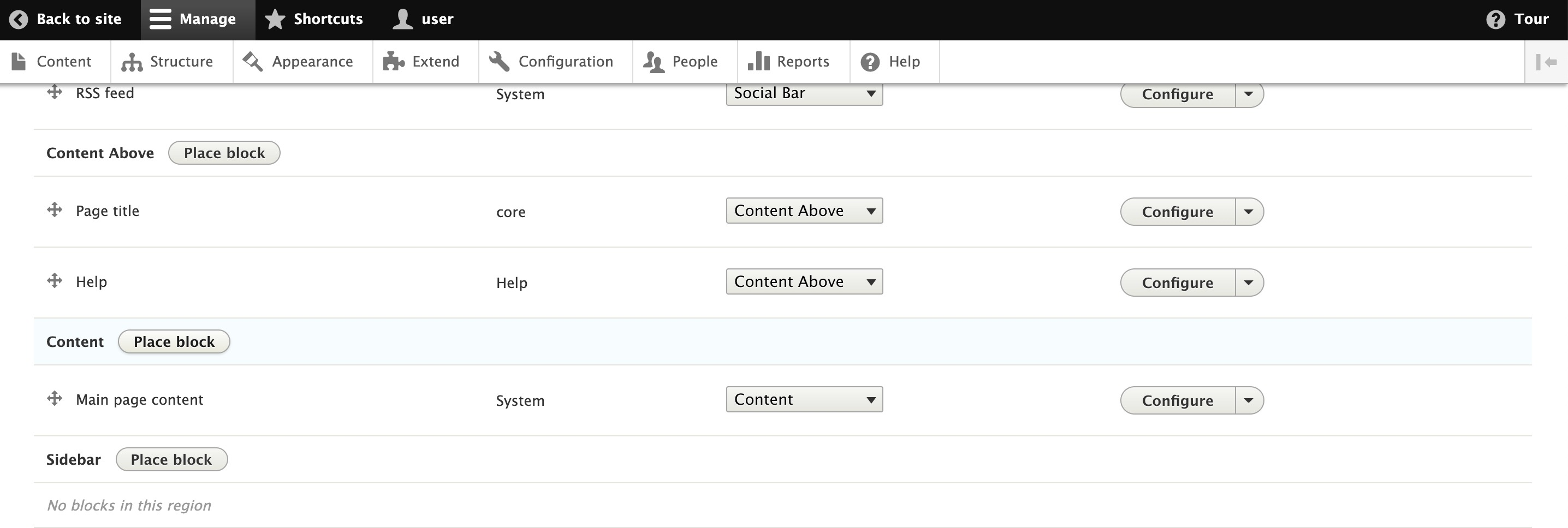 Adding a custom block to the Content area on Drupal