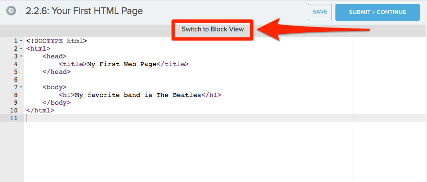 Code editor shows standard code with switch to block view option