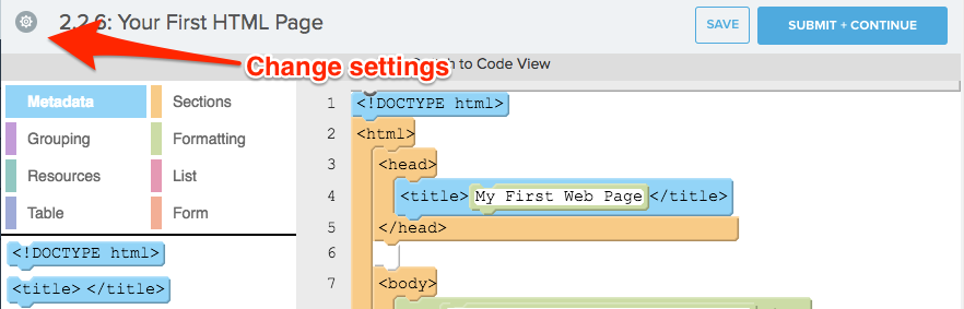 arrow points to settings gear icon in top left of code editor
