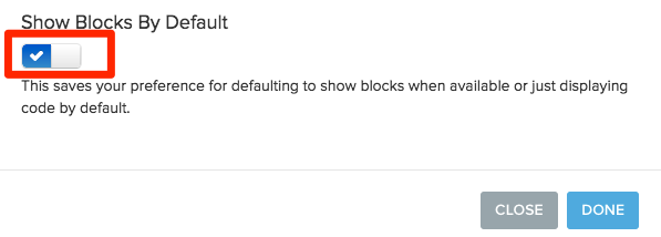 check mark option allows showing blocks by default