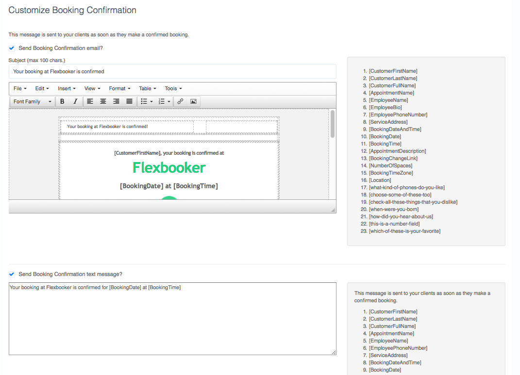 Editing emails and text messages   FlexBooker Help Center